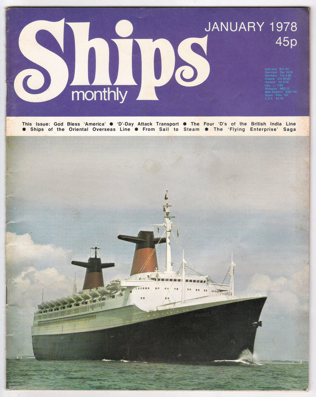 Ships Monthly Magazine January 1978 ss France ss America Orient Overseas Line British India Line Ark Yoyal - TulipStuff