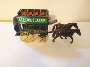 Lledo Days Gone DG4 Lipton's Teas Horse-Drawn Omnibus Bowery to Broadway Made in England 1984