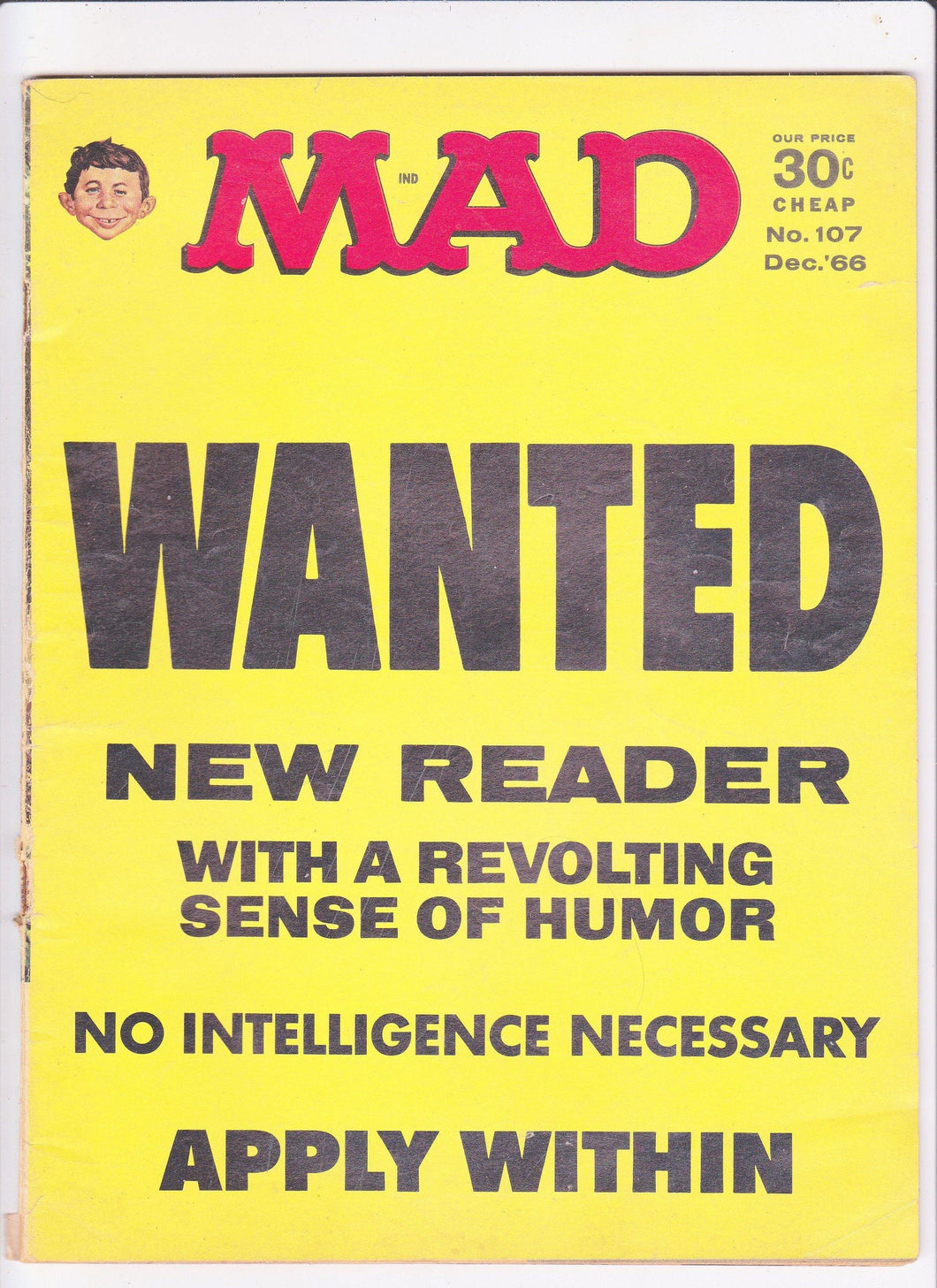 Mad Magazine 107 December 1966 Wanted New Reader Lyndon Johnson Miss America Astrodome Teenager Academy Awards