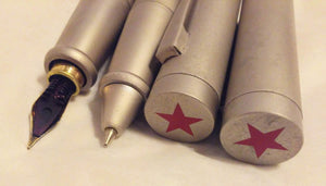 YAFA USSR Soviet Union CCCP Red Star Writing Set Ballpoint Pen Fountain Pen in Wood Box 1990 Brushed Stainless Steel