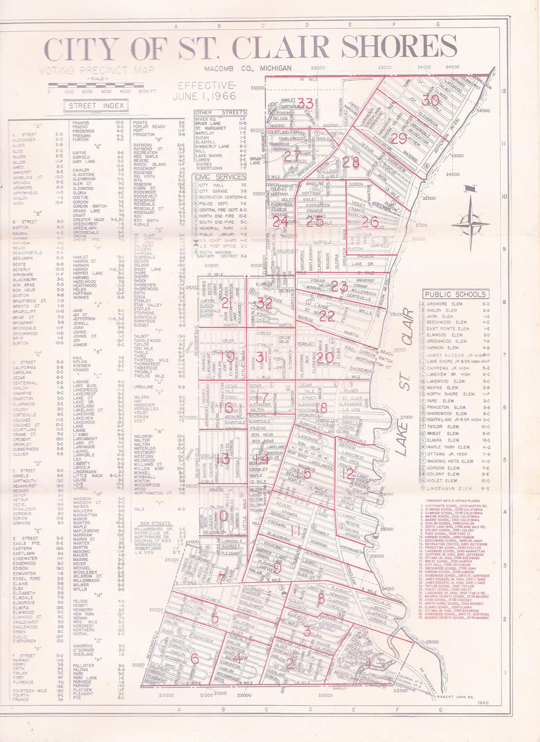 City of St Clair Shores Michigan Vintage June 1966 Voting Precinct Map
