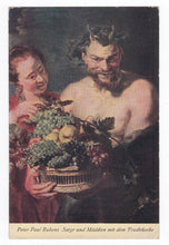 Load image into Gallery viewer, Peter Paul Rubens Satyr und Madchen mit dem Fruchtkorbe 1920's Postcard Julius Bard no. 63 Dresden Germany - TulipStuff