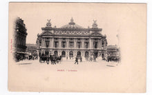 Load image into Gallery viewer, Paris L'Opera with Horses and Buggies Edition A. Taride Undivided Back Antique Postcard 1900