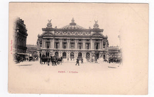 Paris L'Opera with Horses and Buggies Edition A. Taride Undivided Back Antique Postcard 1900