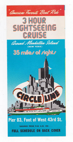 Vintage 1976 Circle Line Manhattan New York Sightseeing Cruise Brochure - TulipStuff
