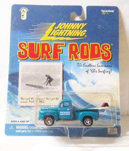 Johnny Lightning  Surf Rods Hermosa Beach Bums '50 Ford F-1 Pickup Truck Diecast Carwith Surfboards 2000