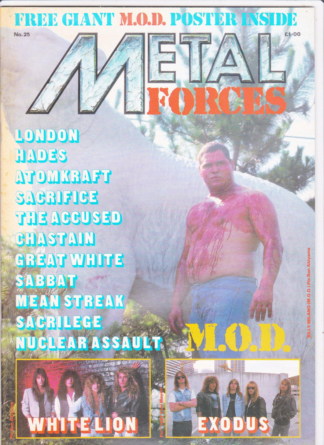 Metal Forces #25 Heavy Metal Magazine 1987 M.O.D. Exodus White Lion Nuclear Assault - TulipStuff
