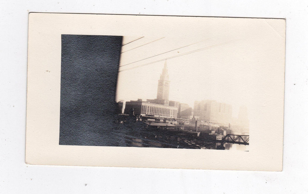 Cleveland Terminal From big Four Train September 19 1936 Black and White Photo - TulipStuff