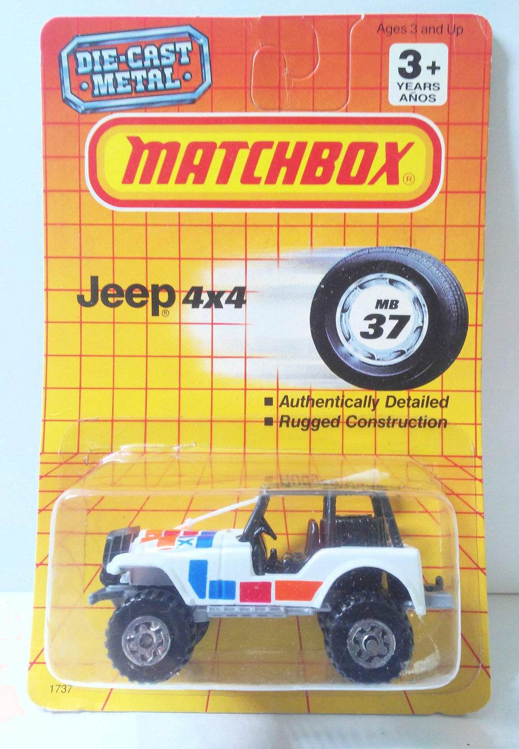 Matchbox 37 Jeep 4x4 with Roll Cage Diecast Metal 1990 - TulipStuff