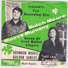 Load image into Gallery viewer, Butch Moore And Maeve Mulvany  Drunken Nights / Golden Jubilee 45RPM Live 1970 Irish Music - TulipStuff