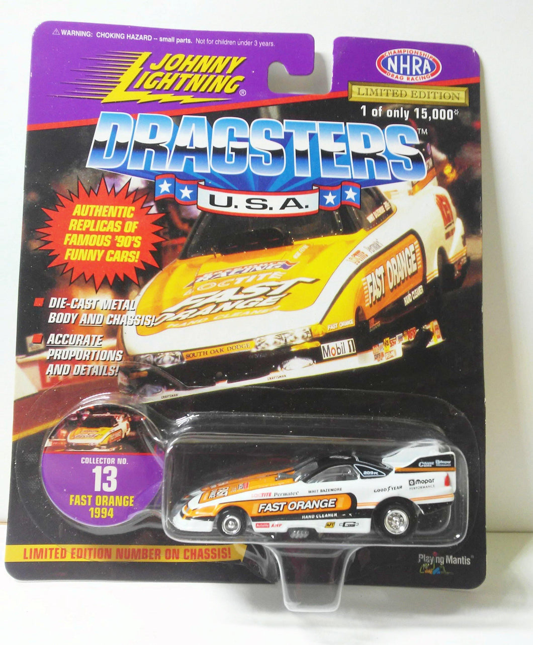 Johnny Lightning Dragsters USA '94 Fast Orange Dodge Daytona Whit Blazemore Funny Car Limited Edition Diecast Metal 1997