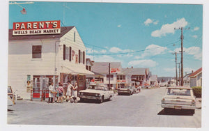 Business District Atlantic Avenue Wells Beach Maine 1960's Chrome Postcard - TulipStuff
