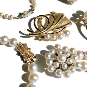 Vintage Pearl Jewelry including Brooches, Necklaces and Bracelets