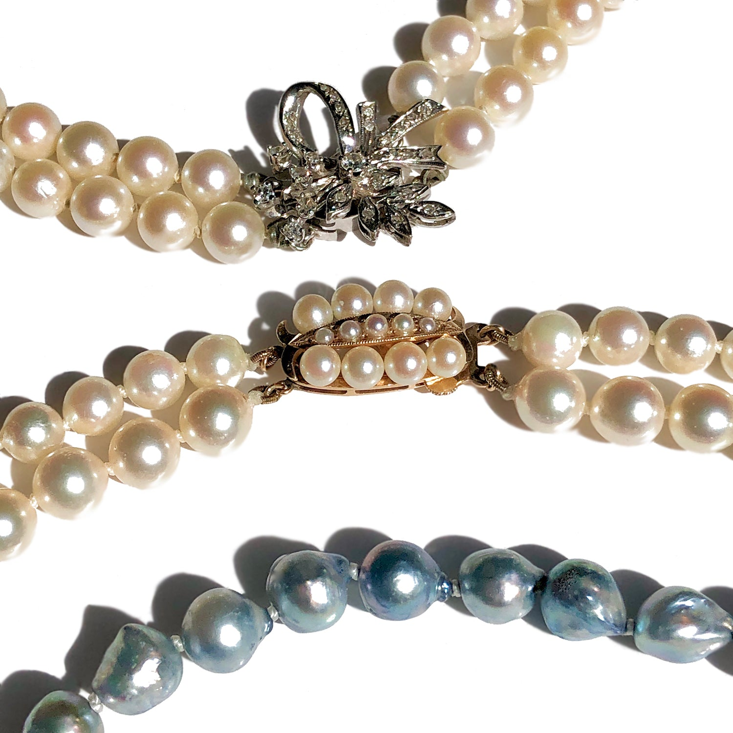 Vintage Akoya Pearl Necklaces in White and Blue