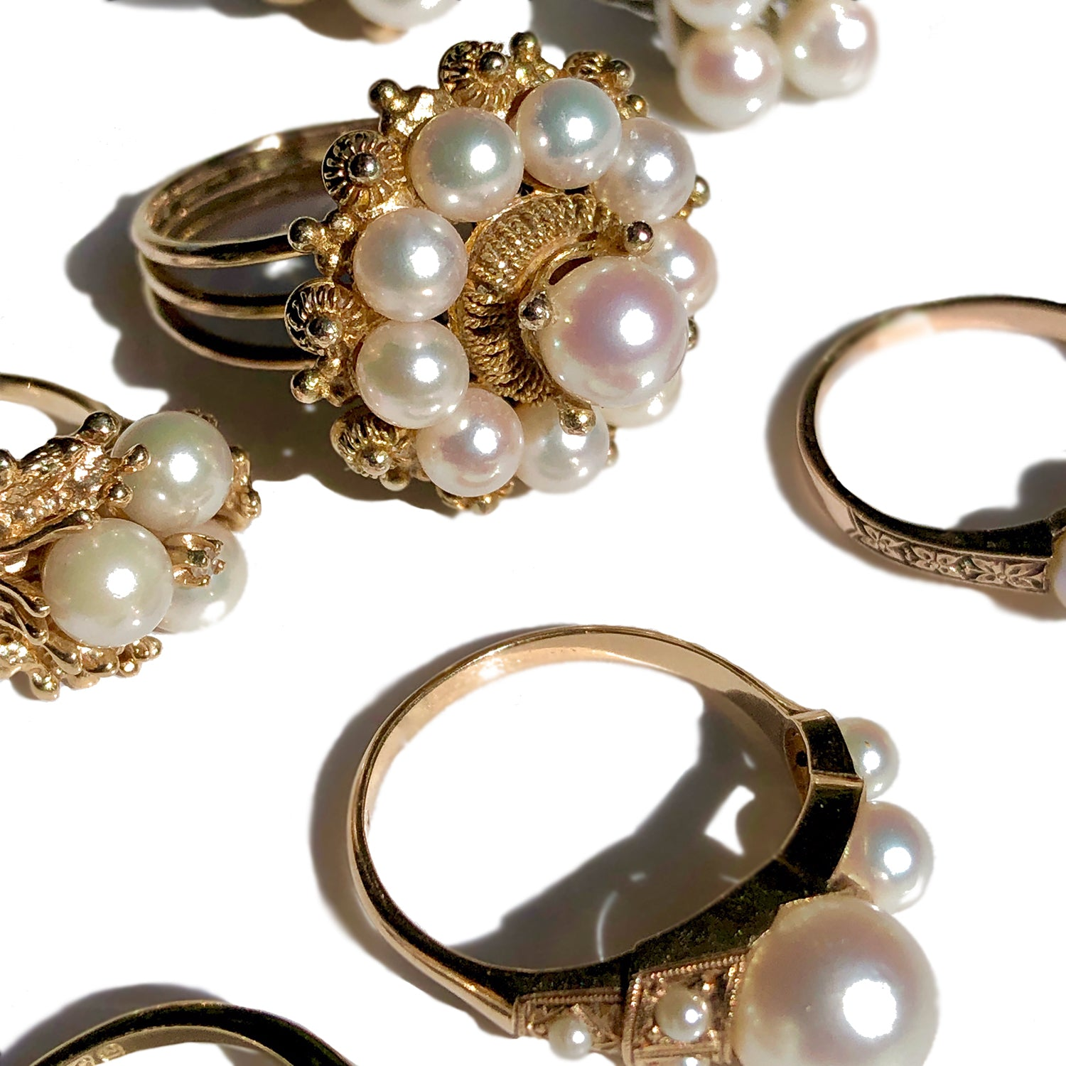Vintage Pearl Rings in Gold