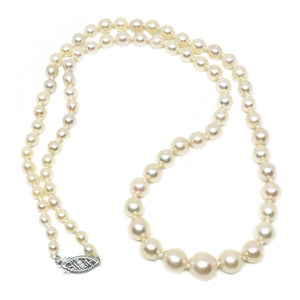 Graduated Japanese Saltwater Cultured Akoya Pearl Strand - 10K White Gold 19.50 Inch