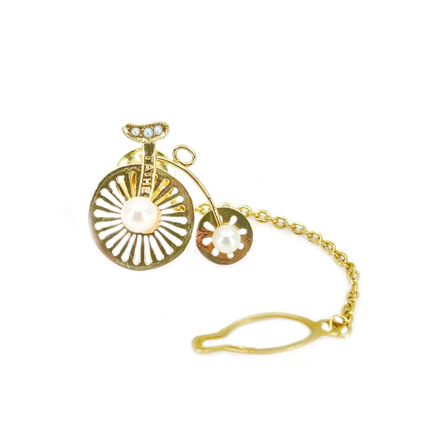 Taihei Bicycle Retro Japanese Saltwater Akoya Cultured Pearl Tie Tac- 18K Yellow Gold