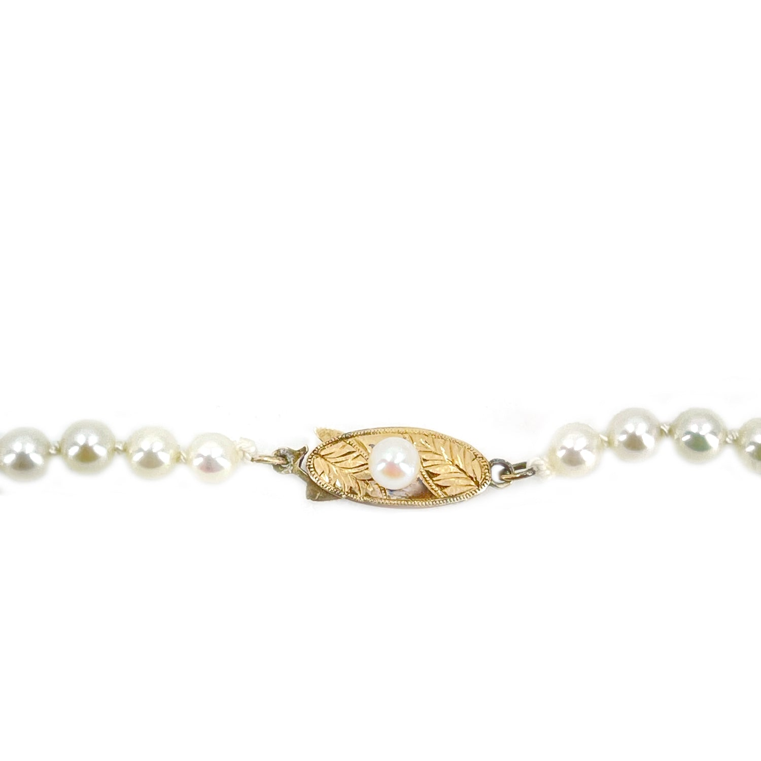 Art Deco Engraved Leaf Japanese Saltwater Cultured Akoya Pearl Necklace - 18K Yellow Gold 20.50 Inch