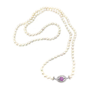 Art Nouveau Japanese Saltwater Cultured Akoya Pearl Pink Topaz Opera Necklace - 18K White Gold 36 Inch