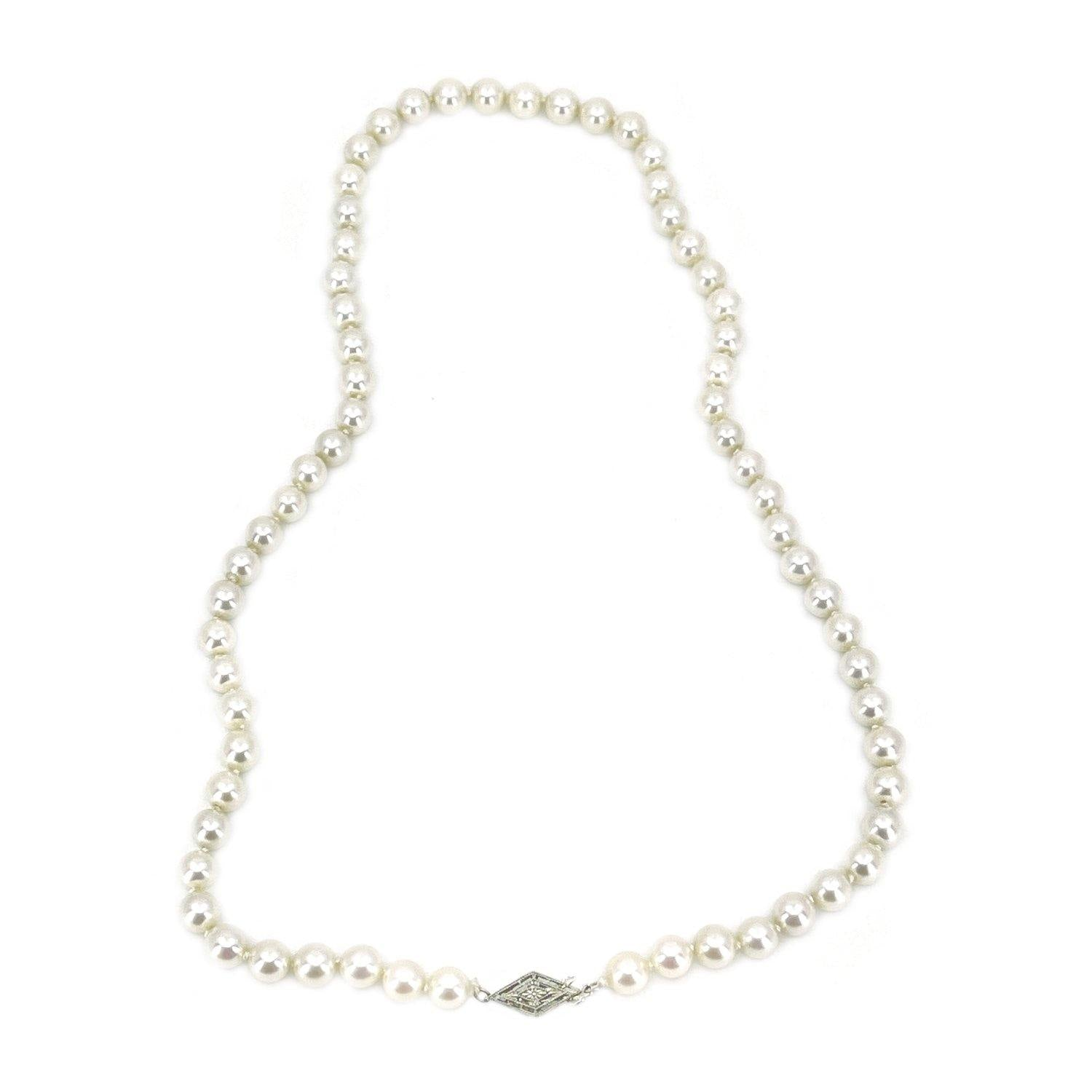 Art Deco Japanese Saltwater Cultured Akoya Pearl Necklace - 18K White Gold 18 Inch