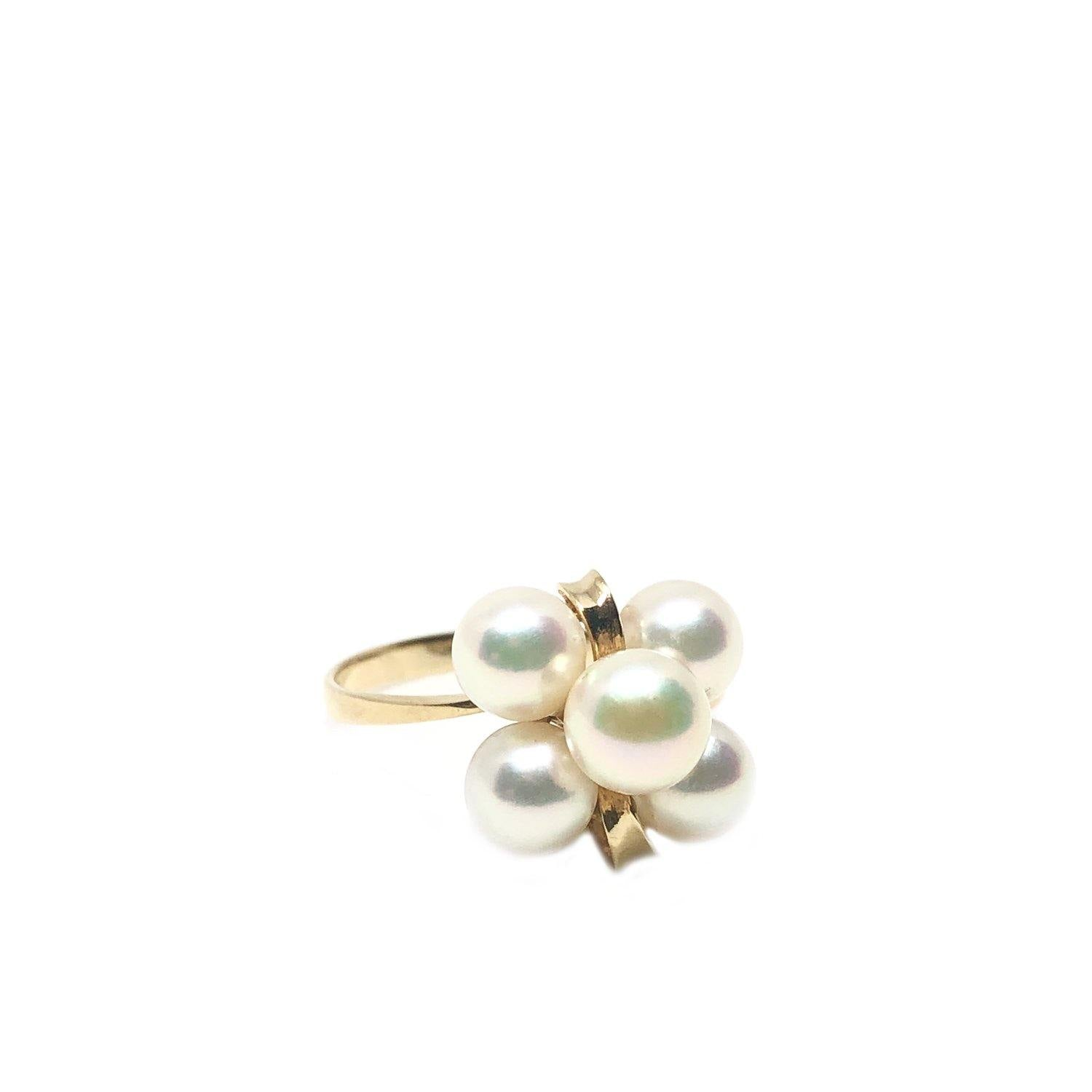 Retro Cluster Design Japanese Saltwater Akoya Cultured Pearl Ring- 18K Yellow Gold Size 6 3/4