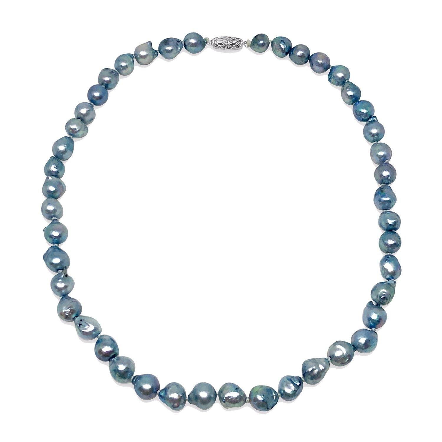 Baroque Blue Mid-Century Japanese Saltwater Cultured Akoya Pearl Choker Necklace - 14K White Gold