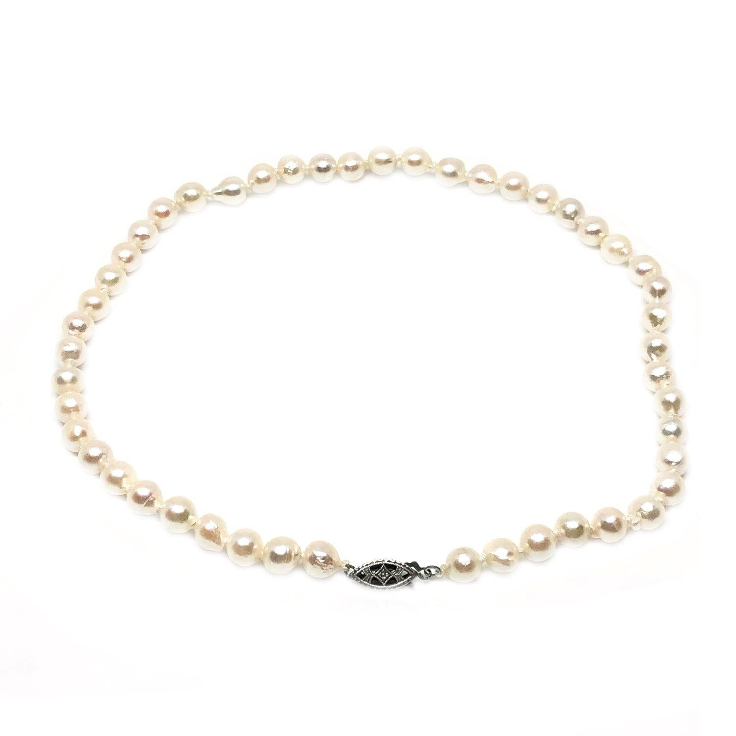 Deco Choker Japanese Saltwater Cultured Akoya Pearl Baroque Necklace - Sterling Silver 14 1/4 Inch