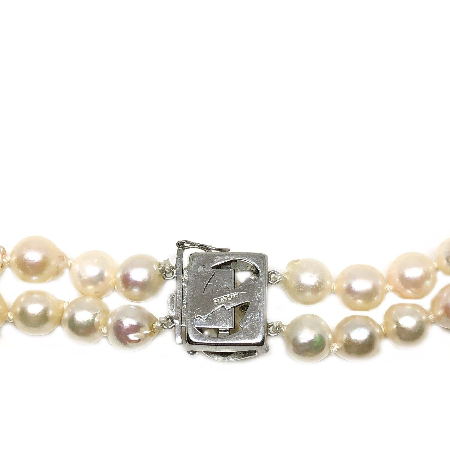 Nouveau Japanese Saltwater Akoya Cultured Pearl Double Strand Necklace-Sterling Silver 22-23.50 Inch