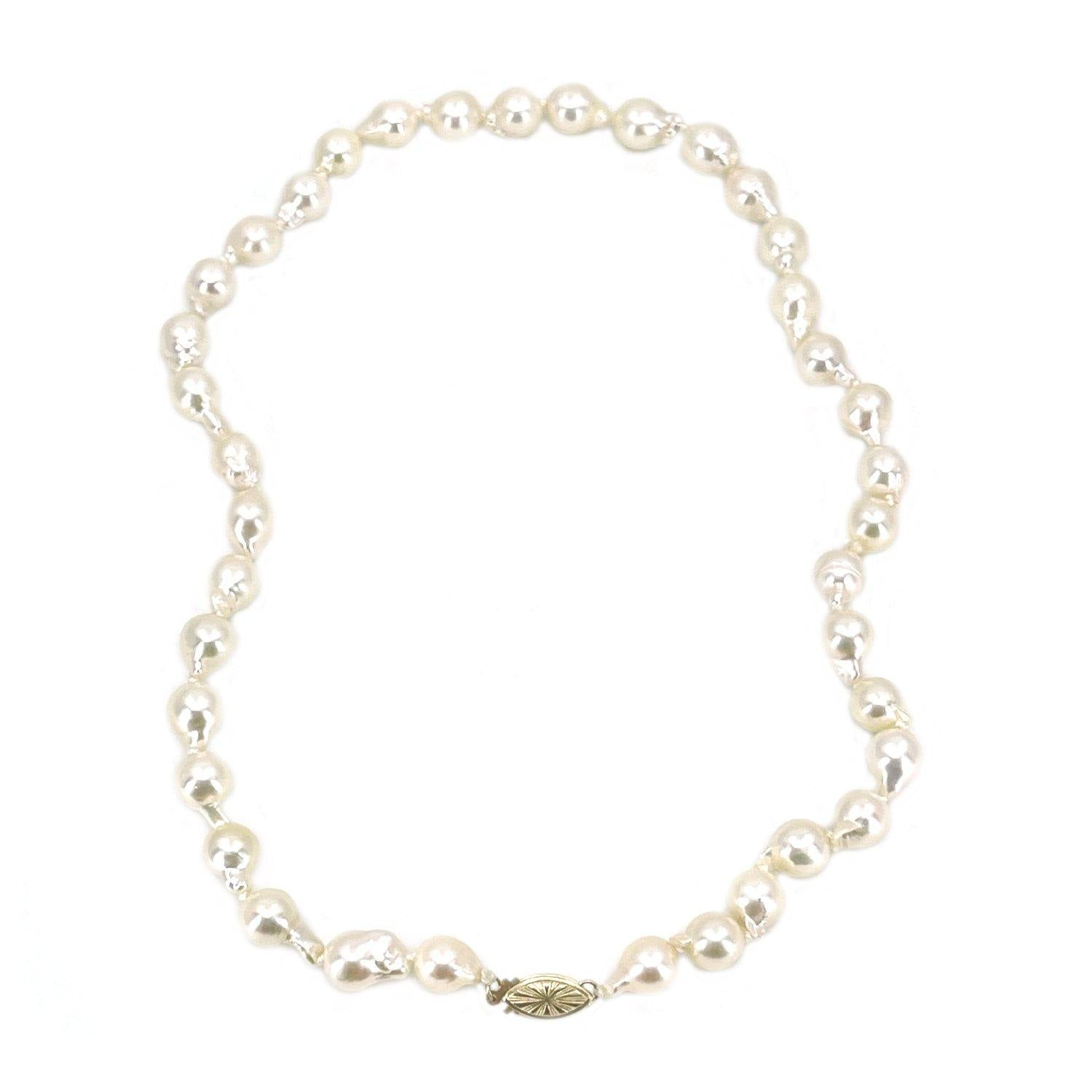 Sunburst Baroque Fire Ball Japanese Saltwater Cultured Akoya Pearl Strand - 14K Yellow Gold 15.50 Inch