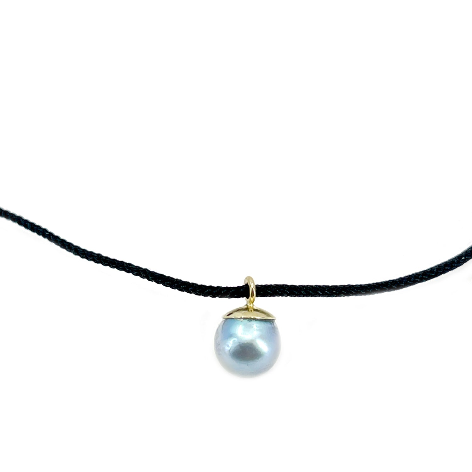 Kumihimo Braided Pure Black Silk Vintage Blue Akoya Saltwater Cultured Pearl Adjustable Necklace-14K Yellow Gold