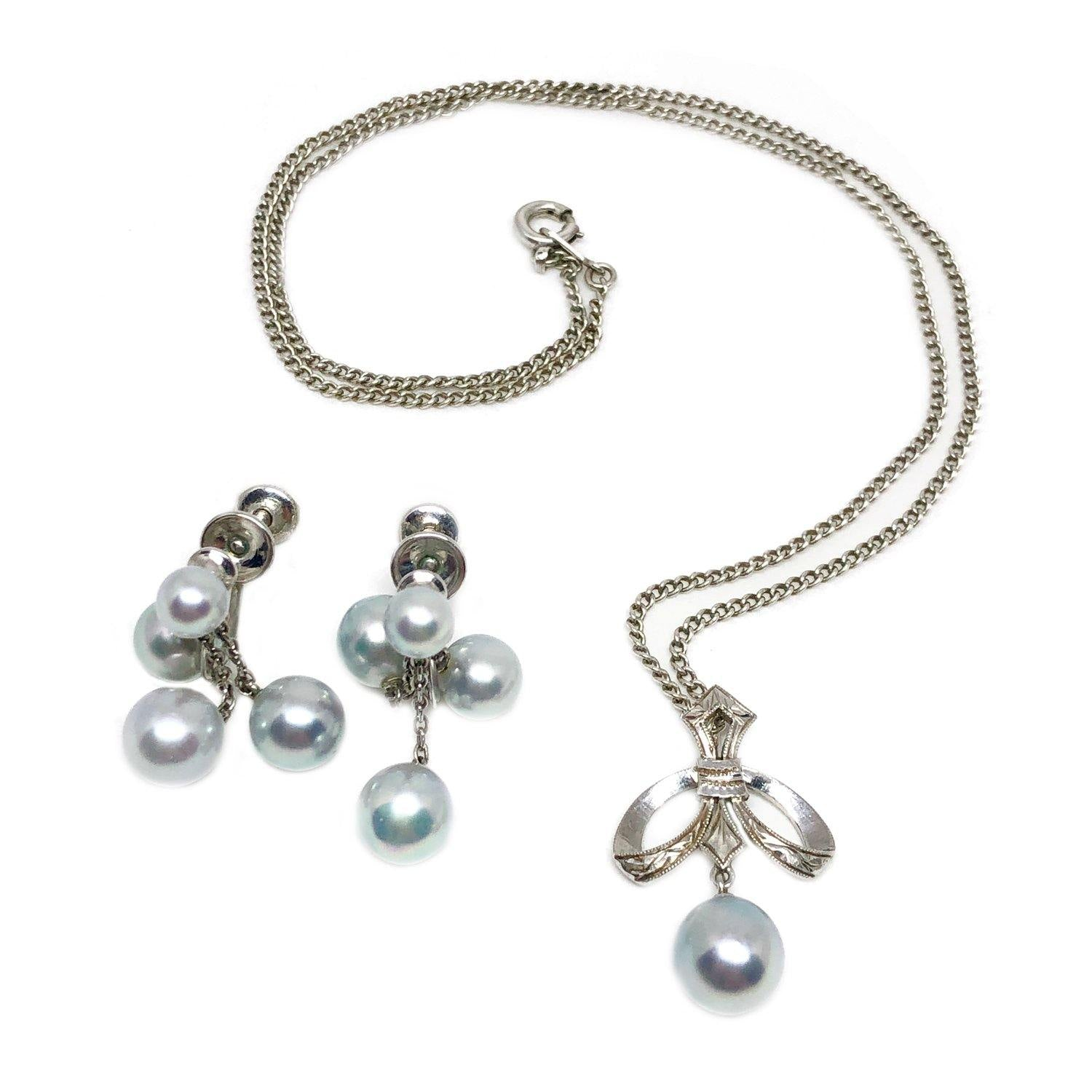 Mikimoto Blue Saltwater Akoya Deco Lavaliere Necklace Screwback Earring Set- Sterling Silver