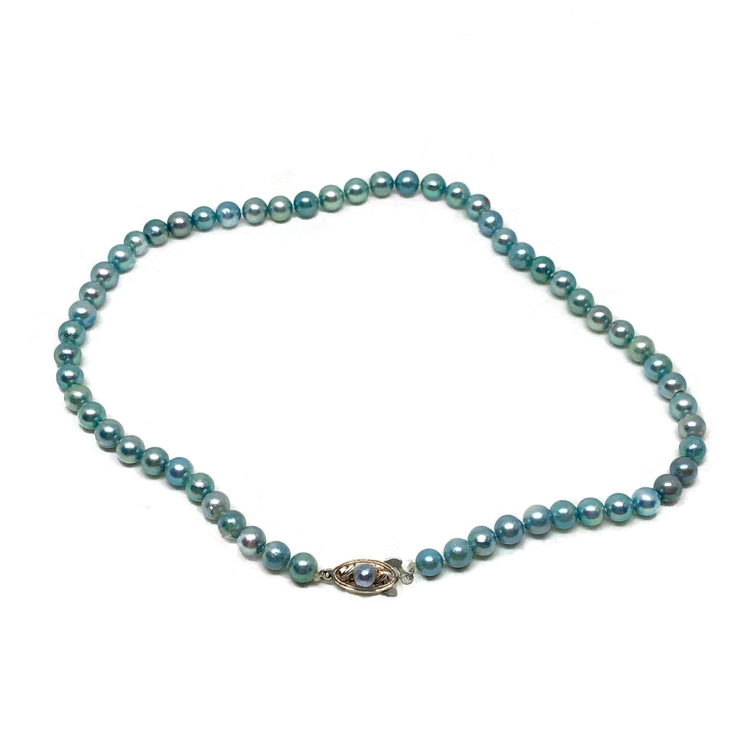 Blue Japanese Saltwater Cultured Akoya Pearl Necklace - Sterling Silver