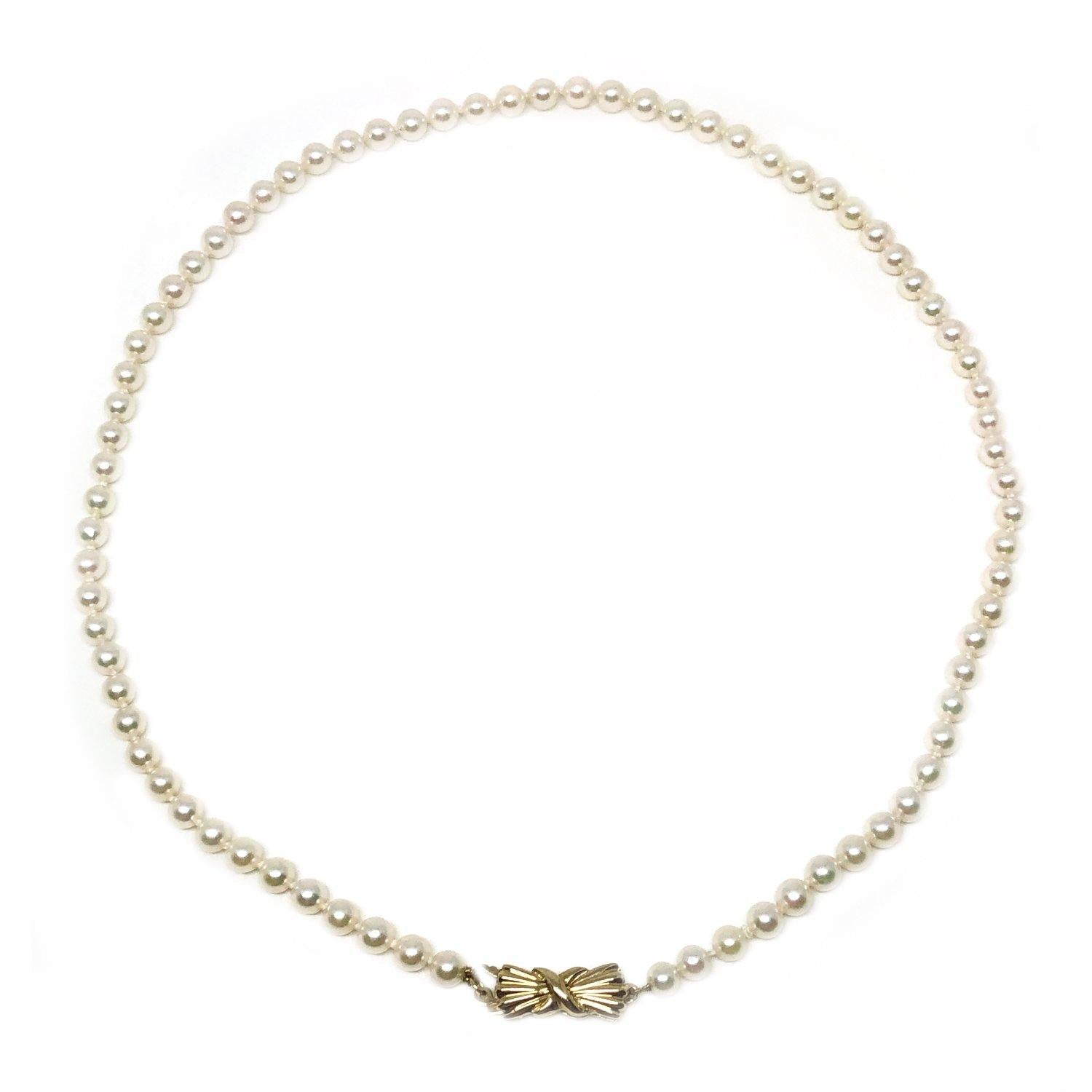 Petite Bow Japanese Saltwater Cultured Akoya Pearl Strand - 14K Yellow Gold 16.50 Inch