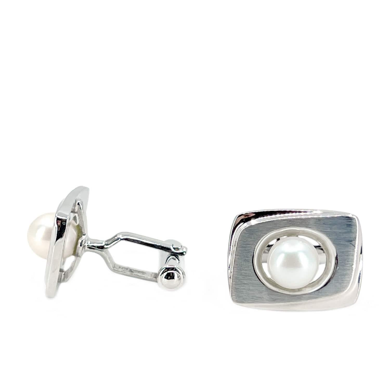 Brushed Retro  Mid Century Modern Japanese Akoya Pearl Cufflinks- Sterling Silver