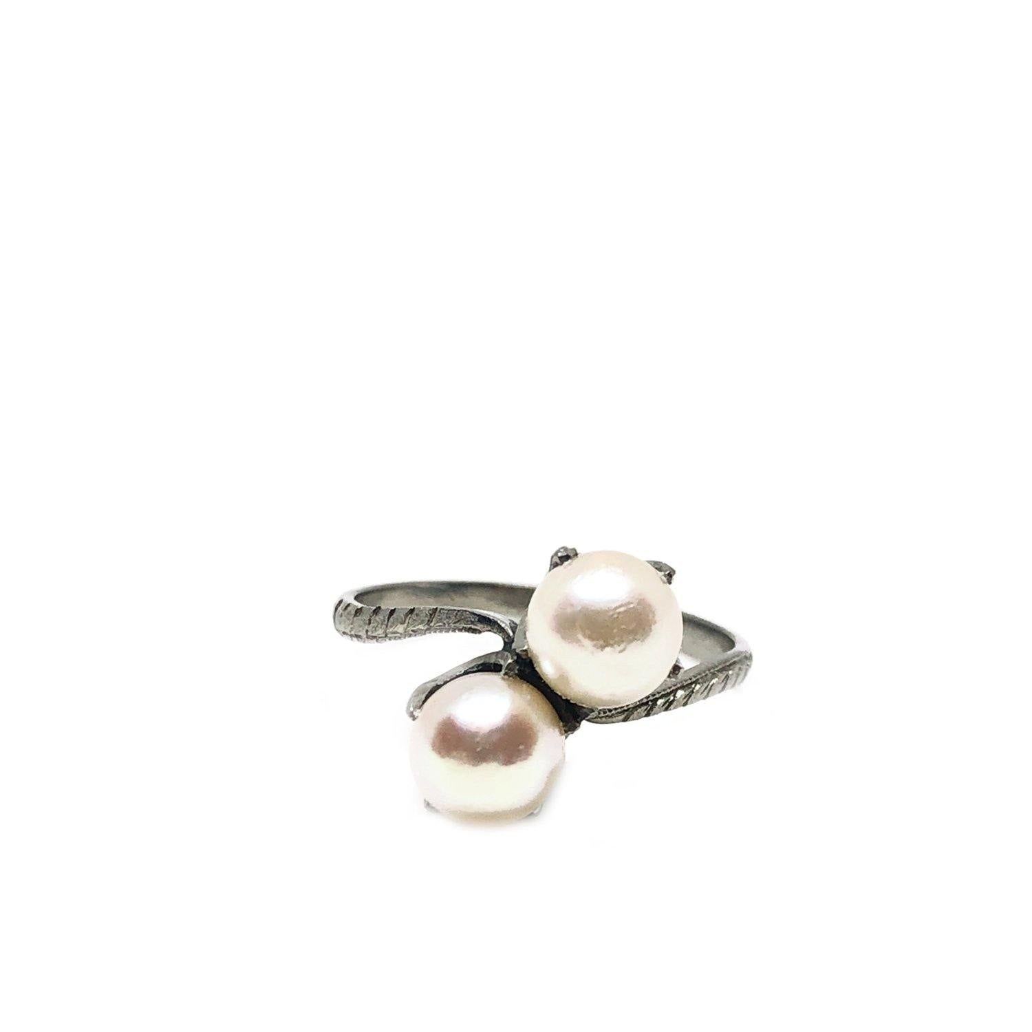 Claw Prong Bypass Japanese Saltwater Cultured Akoya Pearl Ring- Sterling Silver Sz 6 1/2