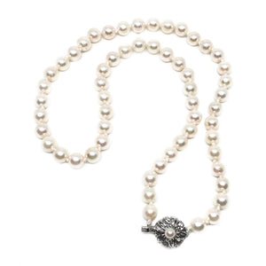 Sakura Cherry Blossom Japanese Saltwater Cultured Akoya Pearl Necklace - Sterling Silver