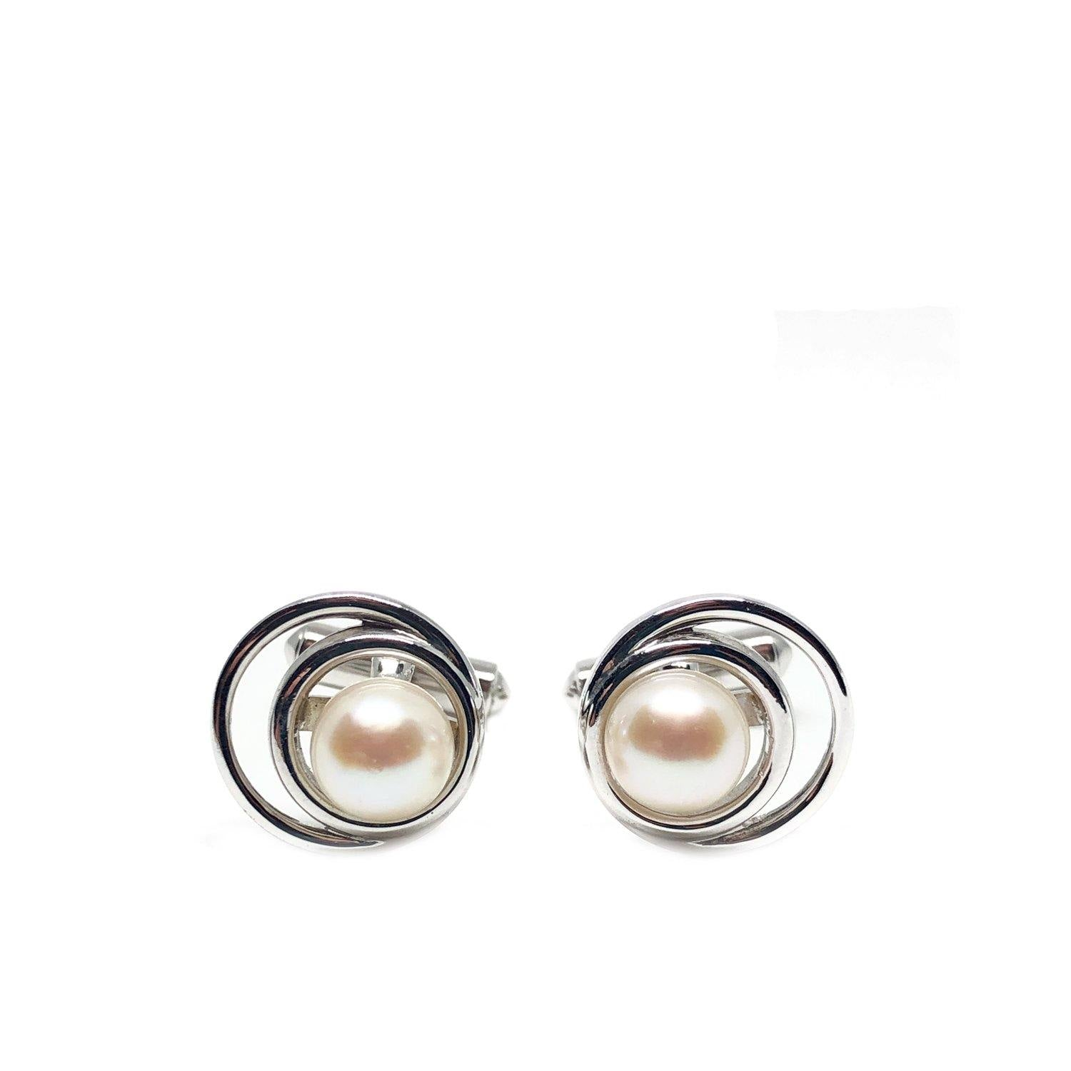 Circle Modernist Japanese Cultured Akoya Pearl Round Cufflinks- Sterling Silver