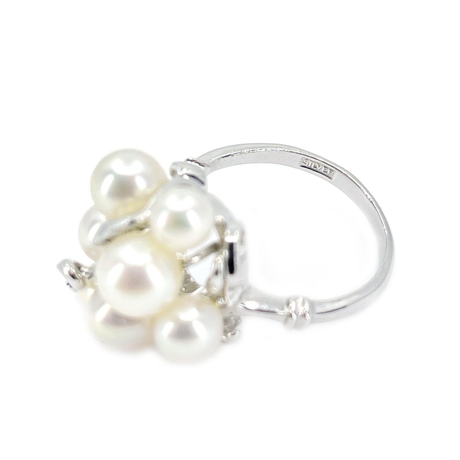 Cluster Mid Century Japanese Saltwater Akoya Cultured Pearl Ring- Sterling Silver Sz 5 1/2