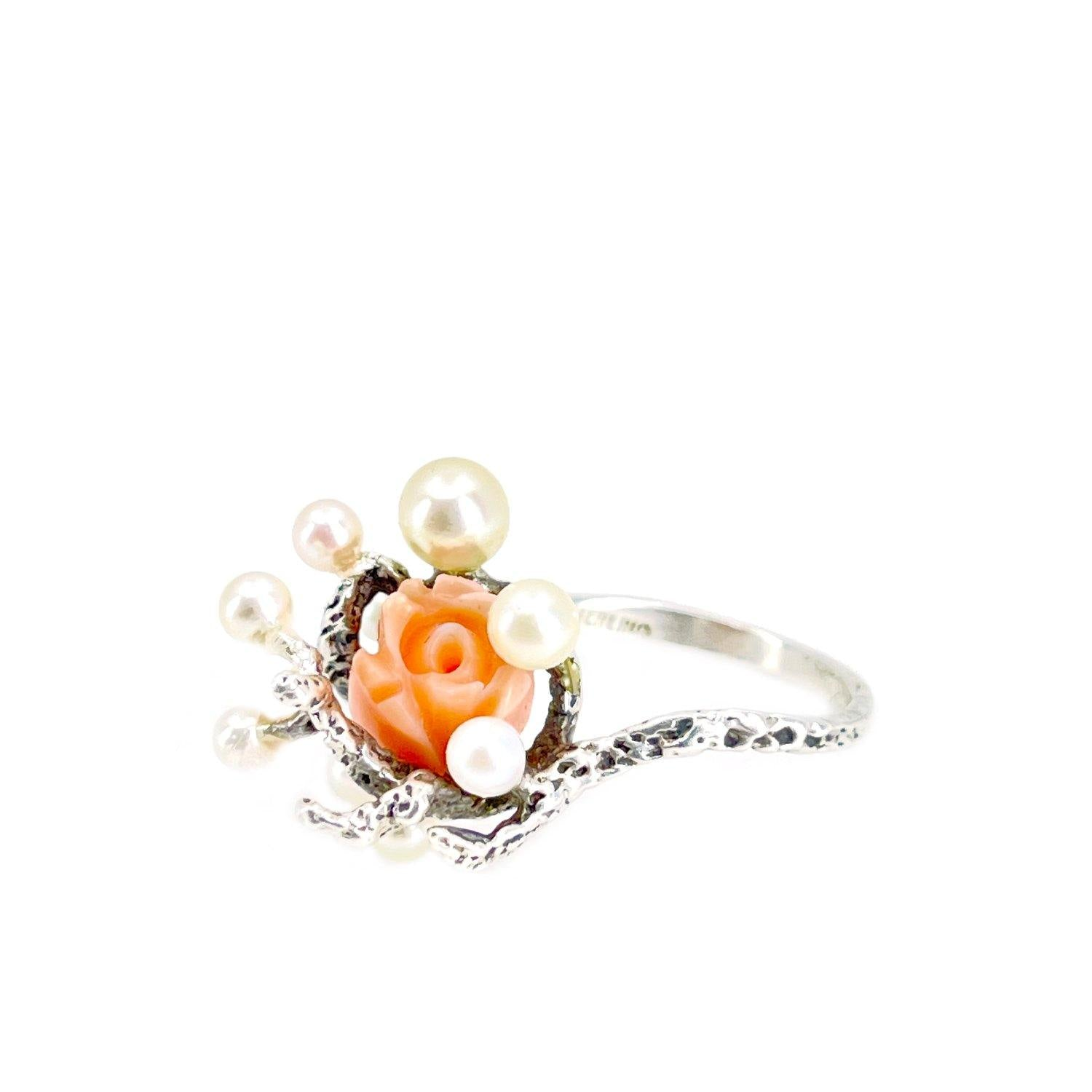 Abstract Salmon Coral Cluster Japanese Saltwater Akoya Cultured Pearl Ring- Sterling Silver Sz 7 1/4