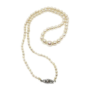 Art Deco Japanese Saltwater Cultured Akoya Pearl Graduated Necklace - Sterling Silver