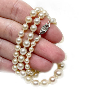 Diamond Graduated Japanese Saltwater Cultured Akoya Pearl Strand - 10K White Gold 18.50 Inch