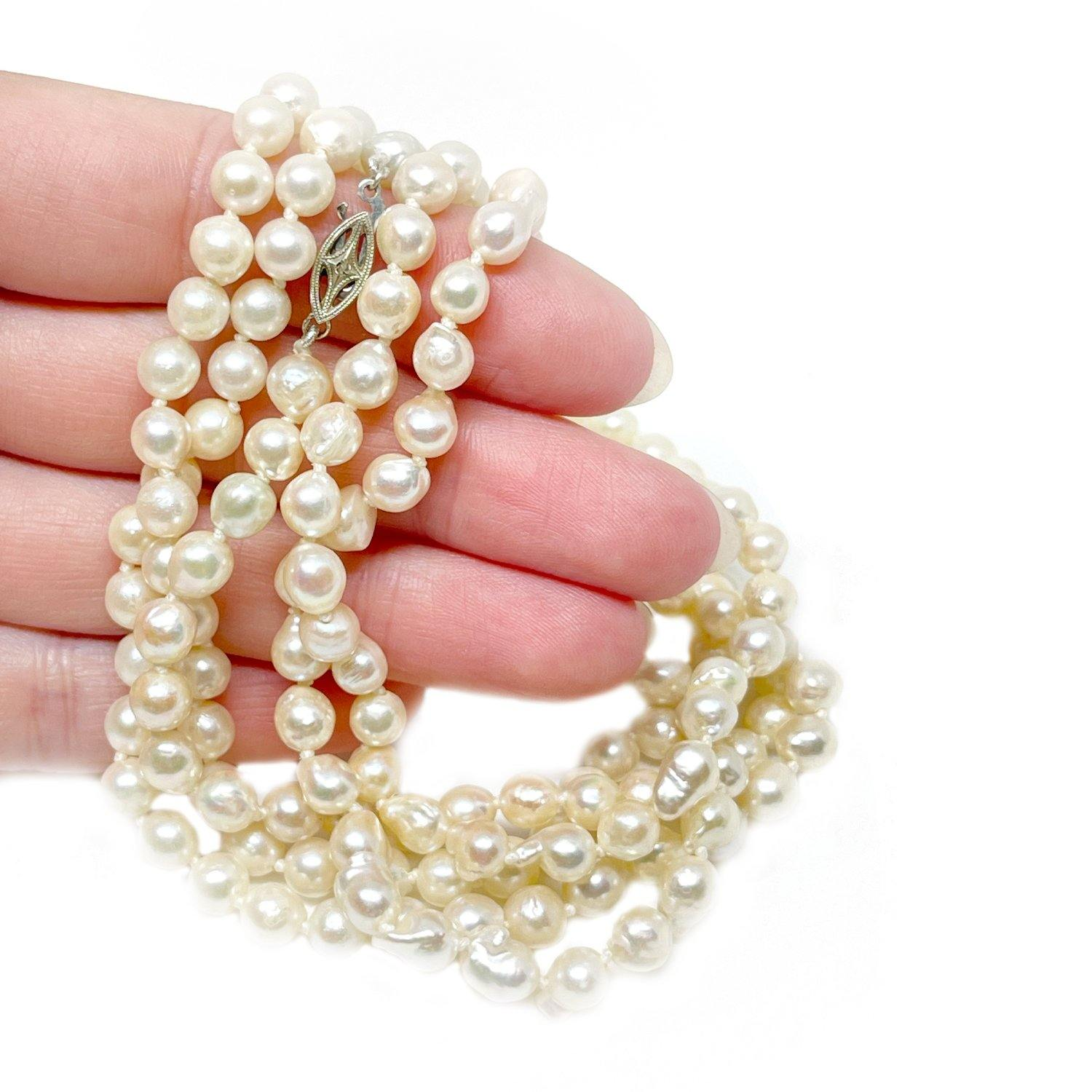 Rope Length Japanese Saltwater Cultured Akoya Pearl Strand - Diamond 14K White Gold 51 Inch