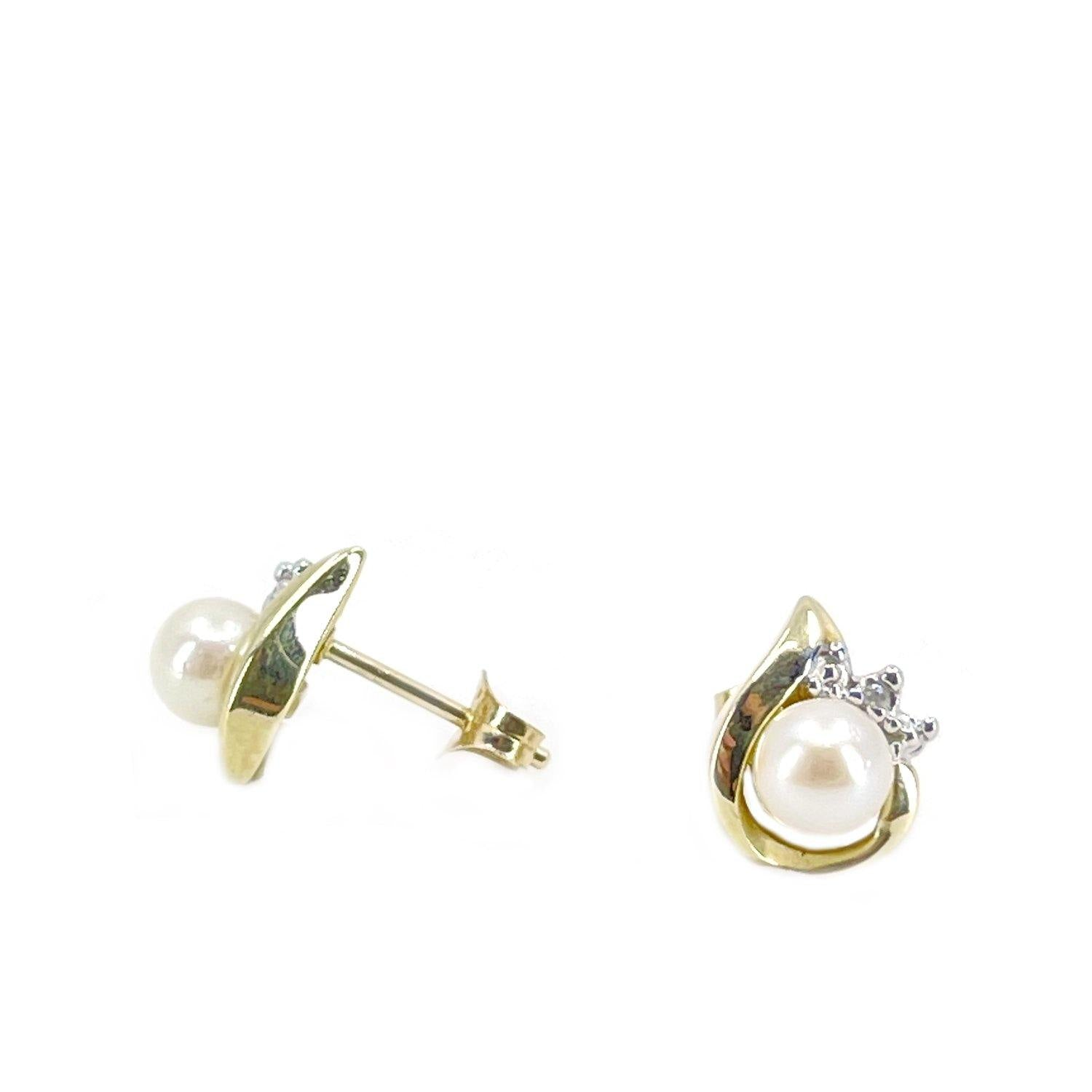 Retro Akoya Saltwater Cultured Pearl Diamond Pierced Earrings- 10K Yellow Gold