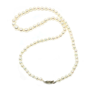 Rough Diamond Graduated Japanese Cultured Akoya Pearl Strand - 14K White Gold 18.50 Inch