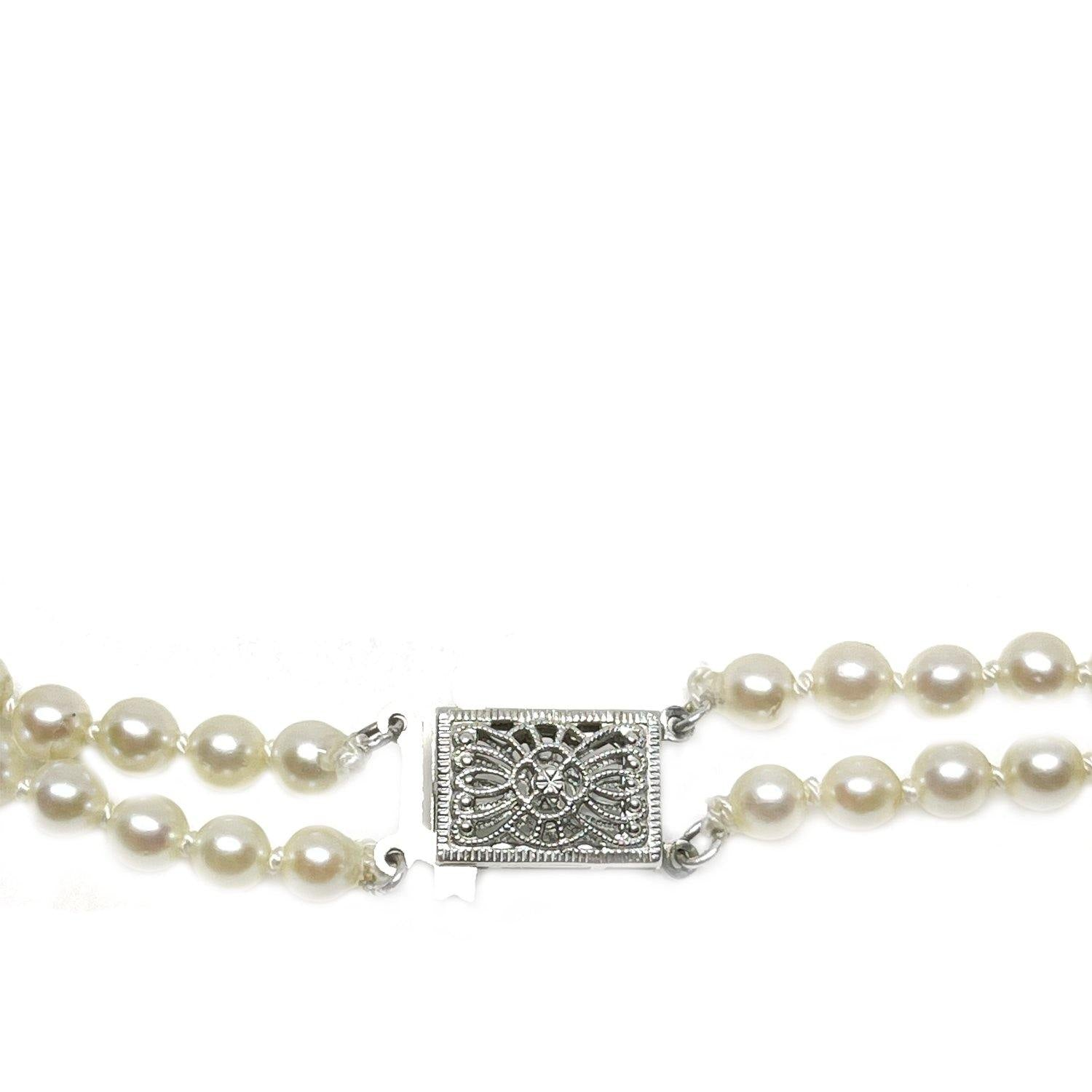 Filigree Double Strand Japanese Saltwater Cultured Akoya Pearl Necklace - 14K White Gold 17 & 18 Inch