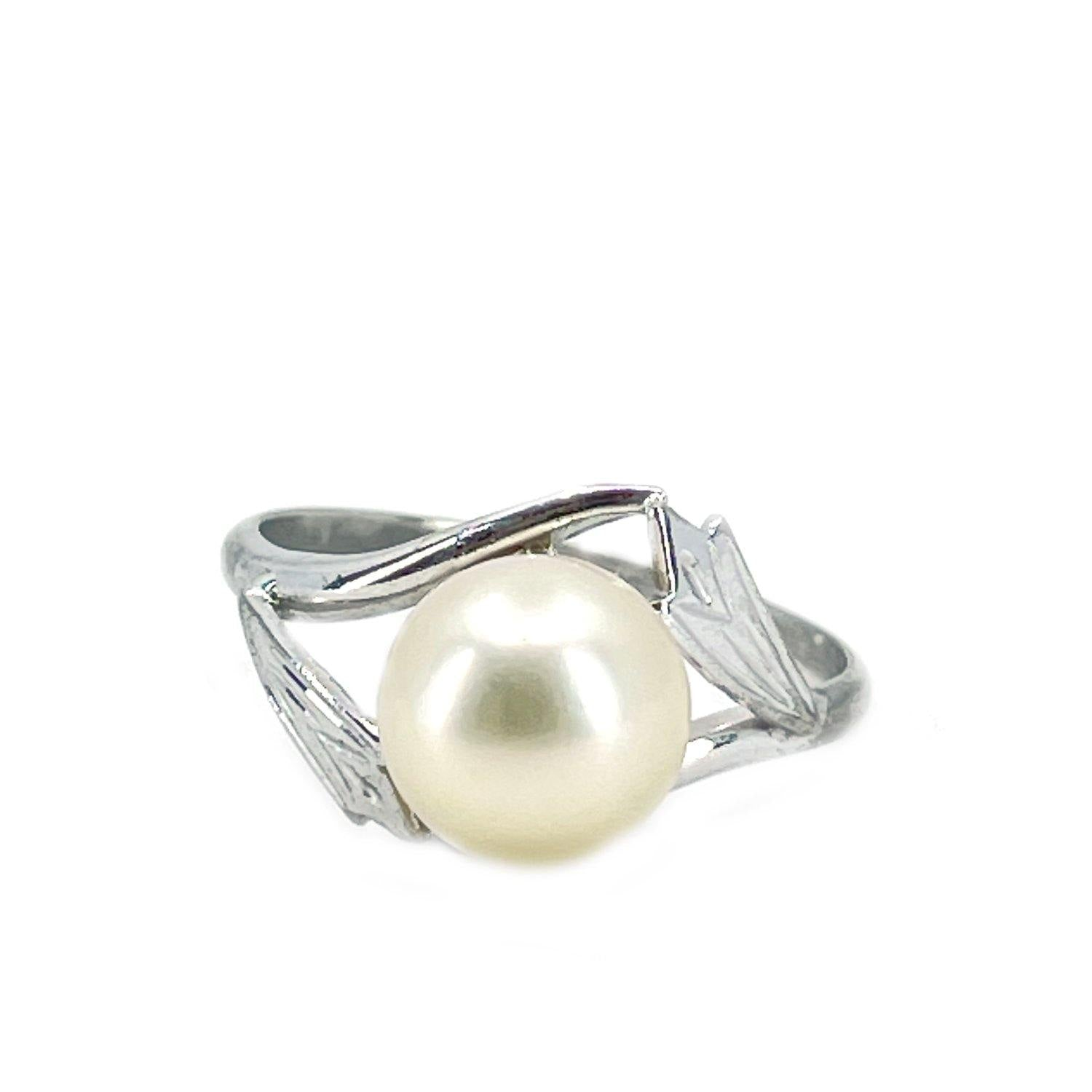 Botanical Double Leaf Japanese Saltwater Blue Akoya Cultured Pearl Ring- Sterling Silver Sz 6