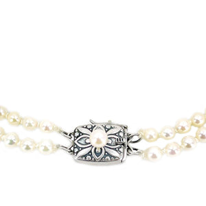 Mikimoto Graduated Japanese Cultured Akoya Pearl Double Strand - Sterling Silver 19.50-20 Inch