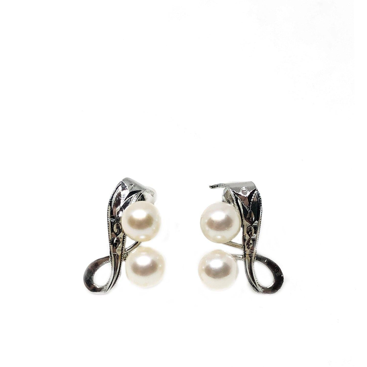 Ribbon Engraved Akoya Saltwater Cultured Pearl Screwback Earrings- Sterling Silver