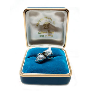 Box Maruwa Gothic Japanese Saltwater Blue Akoya Cultured Pearl Ring- Sterling Silver Sz 6