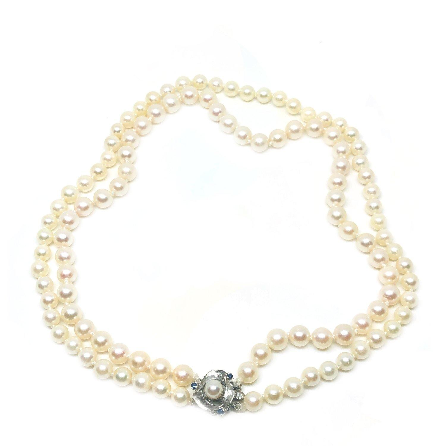 Double Strand Sapphire Japanese Saltwater Cultured Akoya Pearl Necklace - 14K White Gold 16 & 16.50 Inch